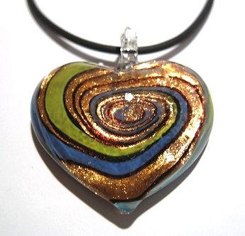 NP121 Murano Glass Blue Green Copper Heart Pendant Necklace