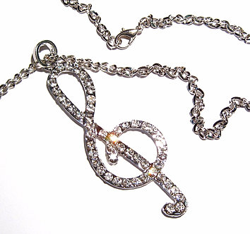 NP118 Oversized 3 Inches Sparkling CZ Music Note Treble Clef Pendant