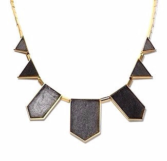 NP2015 Trendy Black Leather  Gold Geometric Statement Necklace
