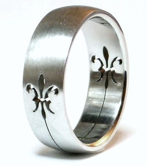 SSR47 Laser Cut Fleur De Lys Stainless Steel Ring