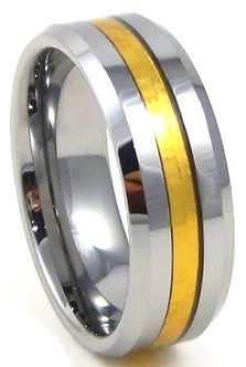 TU3115 - 8mm Gold Carbon Fiber Tungsten Carbide Ring