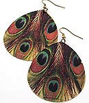 EA50 Burnished Gold Peacock Feather Metal Print Dangle Earrings