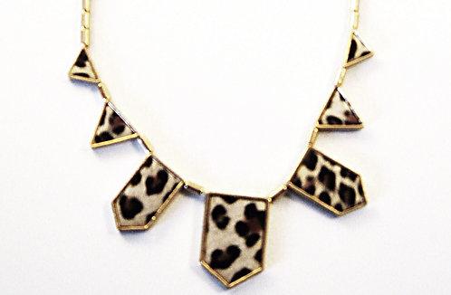 NP2014 Zebra Print Leather  Geometric Statement Necklace
