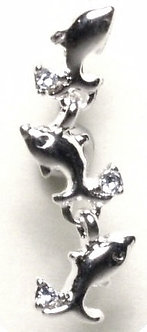 BJ19 Reversed Silver Dolphin Crystal Belly Ring