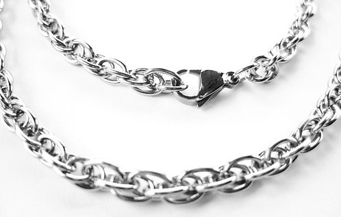 SSN290 -  6mm Matte Finish Stainless Steel Chain Necklace 23 Inches