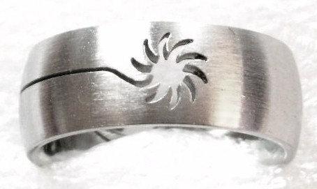 SSR40 Laser Cut Sun Stainless Steel Ring