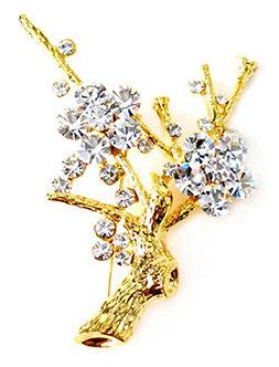 BP14 Sparkling Crystal Tree of Life Brooch