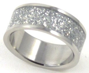 SSR1793 Silver Glitter Stainless Steel Band Ring