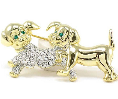 BP69 Crystal Paved Gold Puppy Dog Brooch