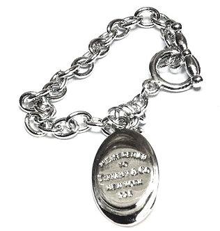 BR69 Tiffany Style Rhodium Finish Chain Toggle Charm Bracelet