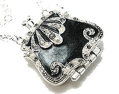 NP18 Trendy AB Crystal Black Purse Rhodium Chain Pendant