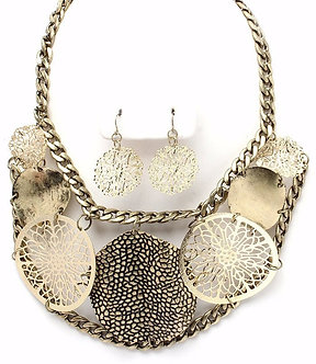 NP1001 Antique Gold Filigree Disc Chunky Necklace Earrings Set