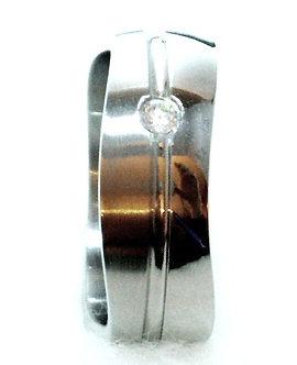 SSR25 Unisex CZ Wavy Shape Stainless Steel Ring