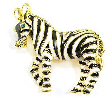 BP51 Adorable Gold Black Enamel CZ Zebra Brooch