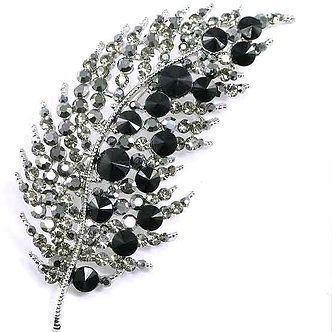 BP53 Black Clear Crystal Paved Celebrity Style Feather Brooch