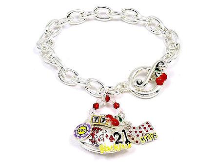 BR54 Lucky Casino Slot Roulette Black Jack Charm  Bracelet