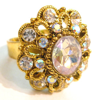 OS32 Clear Crystal Anti Tarnish Gold Cocktail Ring