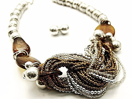 NP901 Chunky Copper Multi Strand Bead Metal Ball Necklace Earrings