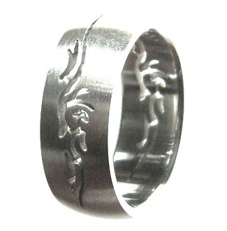 SSR39 Laser Cut Tribal Stainless Steel Ring