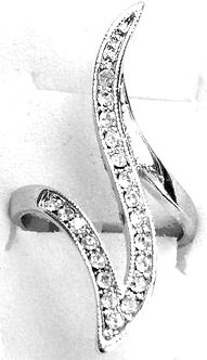 RR07 Sparkling Clear CZ Rhodium Finish Abstract Fashion Ring