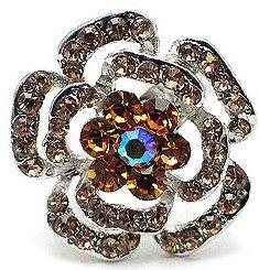 OS01 Amber Crystal Anti Tarnish Flower Cocktail Ring