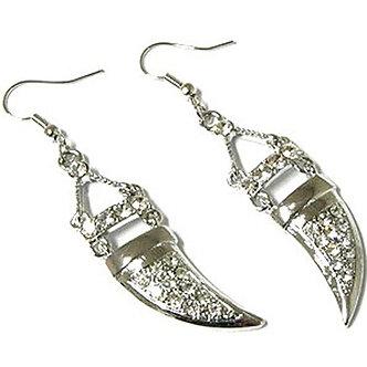 EA28 Crystal Pave Rhodium Finish Tusk Dangle Earrings