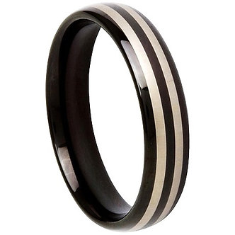 TU6005 - 6mm High Gloss Black Stripe Tungsten Carbide Ring