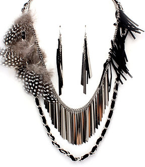 NP1015 Multistrand Feather Suede Metal Bands Necklace Set