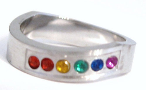SSR17 - 5mm Wavy Gay Pride Rainbow Cz Stainless Steel Ring