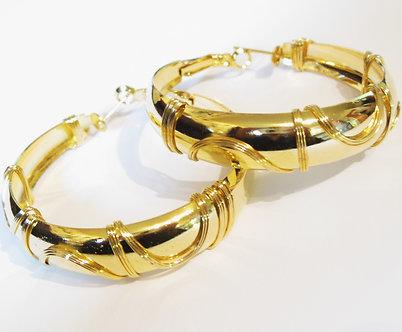 EA97 Twisted Wire 14k Gold EP Hoop Earrings