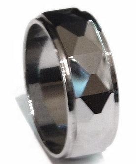 TU3043 - 9mm High Polish Faceted Tungsten Carbide Ring