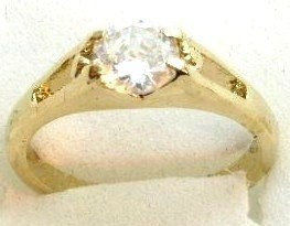 GSR05 Sparkling Clear CZ 18K Gold Solitaire Ring