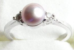PR016 - 14K White Gold Plated Pink Pearl Ring