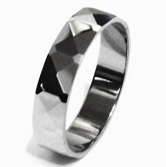 TU3023 High Polish Multi Faceted Tungsten Carbide  Ring