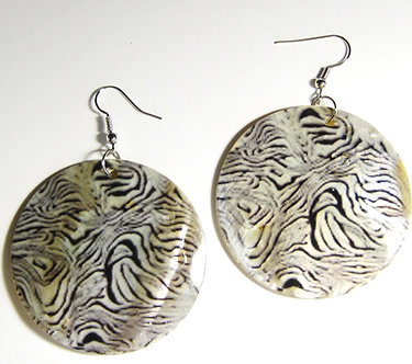 EA148 Animal Print Dangle Shell Earrings
