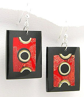 EA76 Unique Exotic Wood and Coral Dangle Earrings