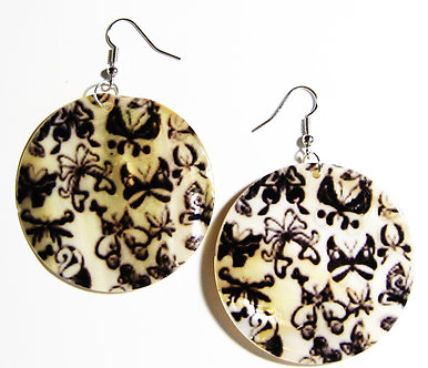 EA150 Art Deco Pattern Dangle Shell Earrings