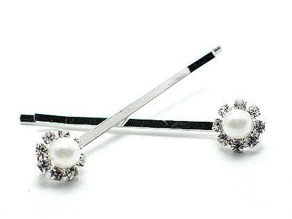 MSC04 Pair of Glass Pearl Crystal Rhodium Bobby Pins