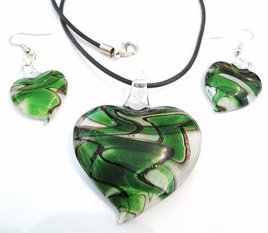 NP95 Green Black Swirl Murano Glass Heart Necklace Earrings Set