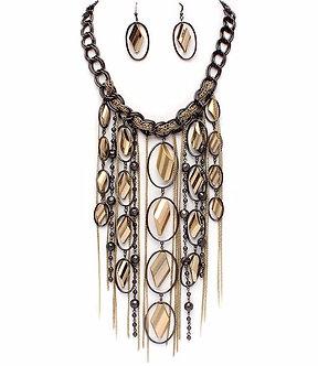 NP1031Chunky Gun Metal Gold Chains Beads Cascade Drop Necklace Set