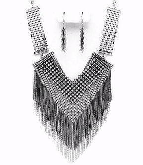 NP1006 Silver Black Mesh Chains CZ Statement Chunky Necklace Set