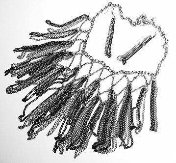 NP928 Black Silver Chains Cascade Drop Necklace Set