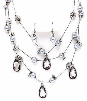 NP1037 Silver Pearl Multi Row Crystal Beads Necklace Earrings Set
