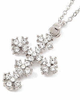 NP41 Clear CZ Paved Silver Cross Pendant Necklace