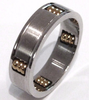 SSR2629 Spinning Gold Balls Stainless Steel Ring