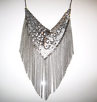NP2003 Silver Fluid Mesh Scarf Dangling Chains Retro Chunky Necklace