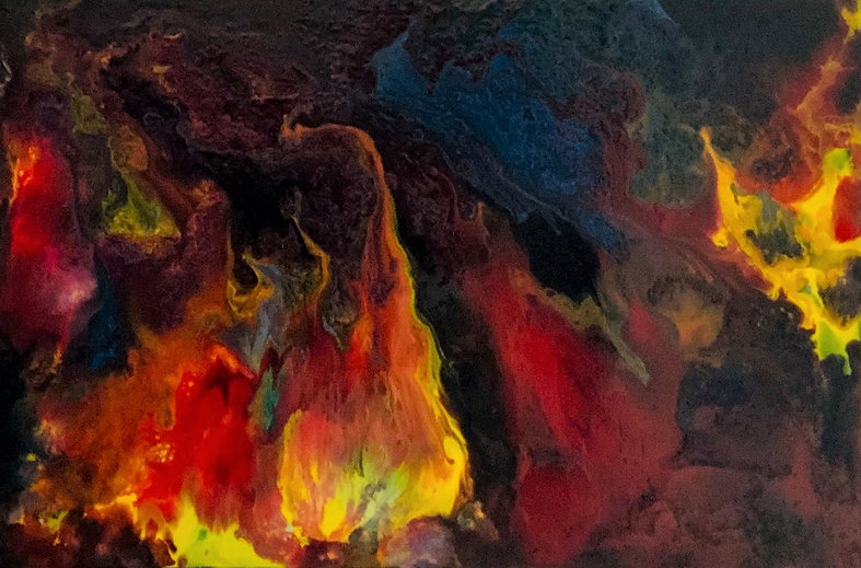 Burning Desire - Abstract Fluid Acryic Art - Mixed Media