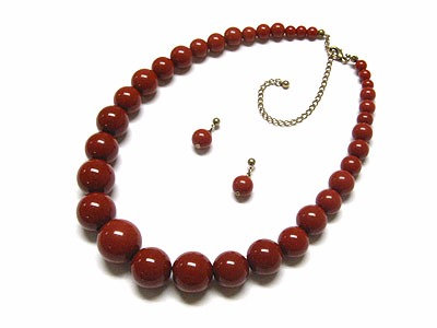 NP143 Brown Glossy Graduated Bead Ball Chunky Necklace Set
