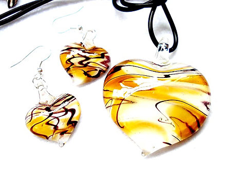 NP97 Yellow White Black Swirl Murano Glass Heart Necklace Earrings Set