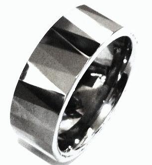 TU3036 8mm High Polish Multi Faceted Tungsten Carbide Ring
